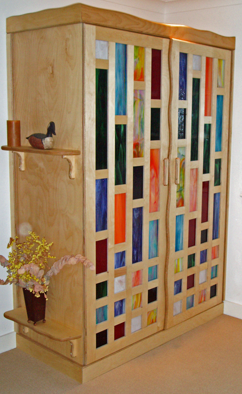 Cupboard - birch ply & stained glass