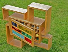 display system – oak & stained glass