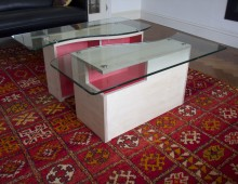 coffee table: birch ply, toughened glass and coloured lacquer