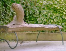 garden bench – driftwood and tubular iron designed/made by kev colbear
