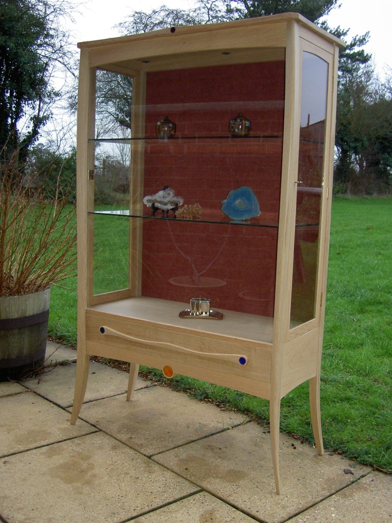 display cabinet in solid english oak