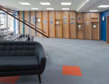 complete 60's-inspired reception area refurb for modernist office