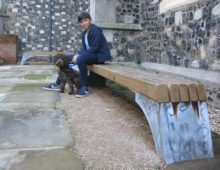 oak and galvanised steel benches