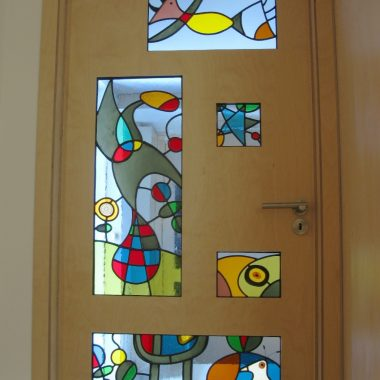 birch ply door with stained glass by danielle hopkinson (1 of 6, each inspired by the customer's favourite artworks)