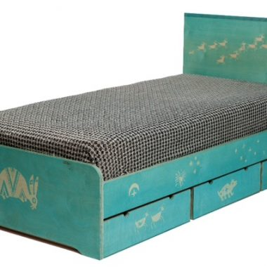 bed: birch ply, petroglyphs by eileen clarke