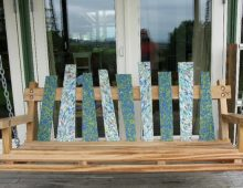 bench swing: local sweet chestnut, recycled plastic board, galv. steel