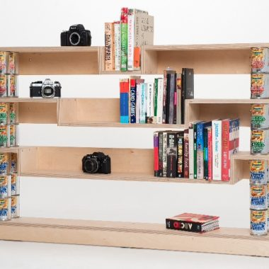 bookcase: birch ply, customer's own tins