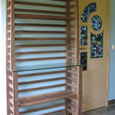 bookcase: solid walnut / door: birch ply, stained glass by danielle hopkinson