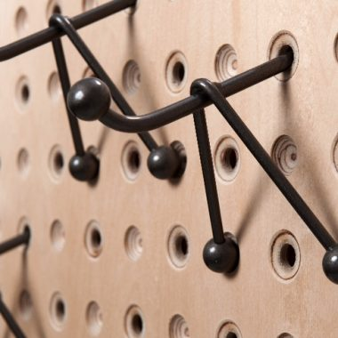 coat hooks: birch ply, metal hooks by kev colbear