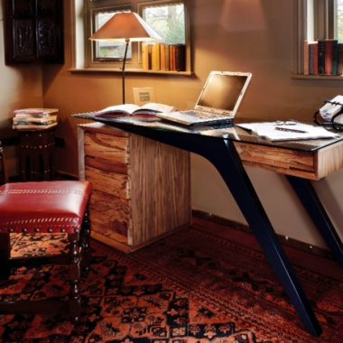 desk: spalted elm, walnut (solid and veneer), toughened glass, painted steel legs