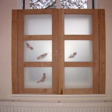 shutters: solid oak, painted glass by danielle hopkinson