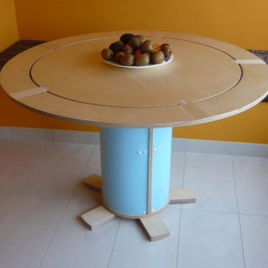 table: birch ply (outer ring removes and hangs on wall)