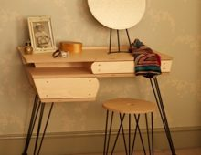 dressing table:  birch ply, lacquered steel and mirror