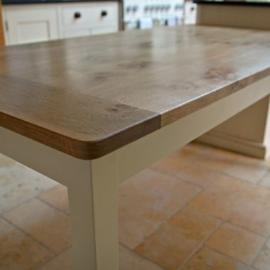 kitchen table – pippy oak with painted underframe
