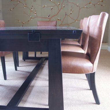 dining table: american black walnut, japanned finish
