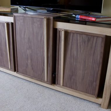 sideboard: english oak, walnut veneered board and toughened glass
