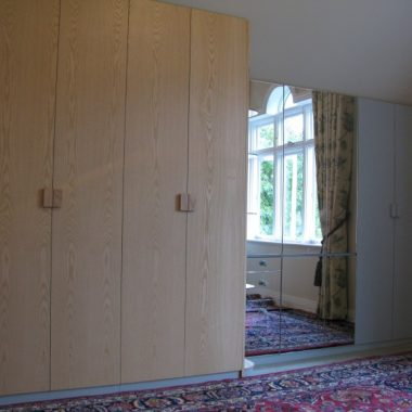 wardrobe: ash veneered board, birch ply, painted board and mirror