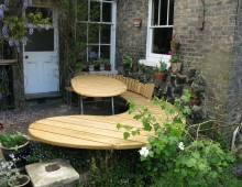 garden dining: local sweet chestnut and steel