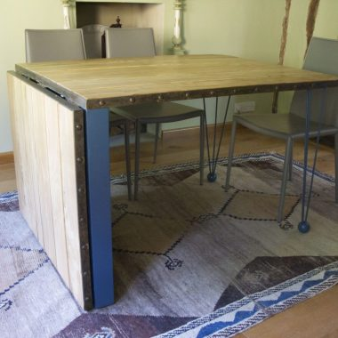 extending dining table: spalted beech, painted birch ply and lacquered steel