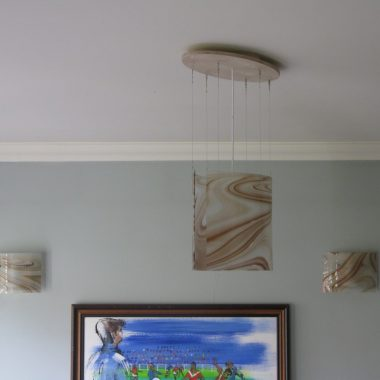 ceiling and wall lights: custom curved glass by danielle hopkinson