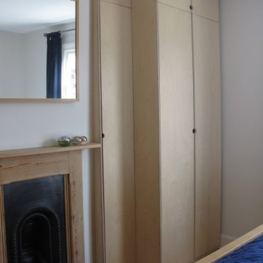 wardrobe: stepped design in birch ply
