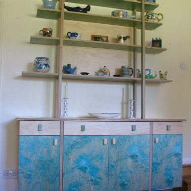 blue and white kitchen dresser
