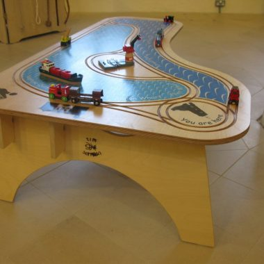 railway play table of ipswich dock in birch ply (with thanks to brio)