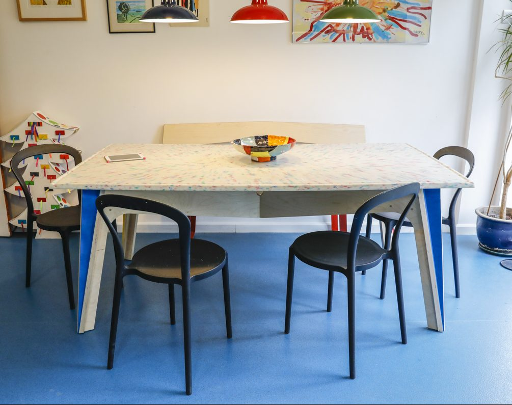 dining table kitchen birch ply recycled plastic