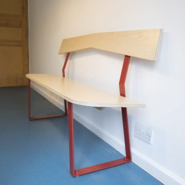 bench in birch ply and painted steel