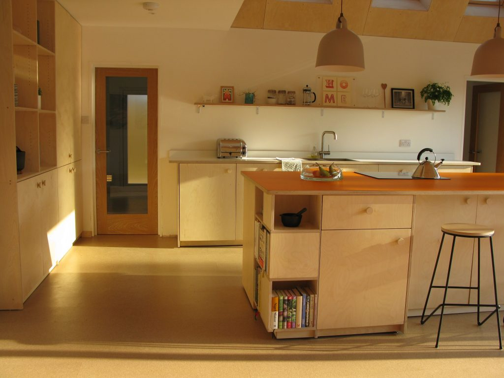 kitchen birch ply island