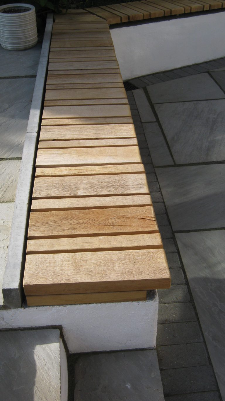 garden bench oak galvanised steel frame