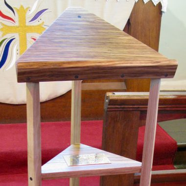 The Row Chapel lectern in local English oak (with brown oak and bog oak details)