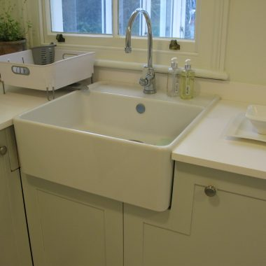 Shaker-style painted kitchen in birch ply with Getalit worktop