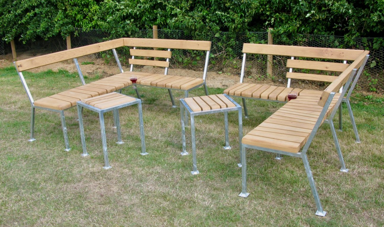 bench oak galvanised steel