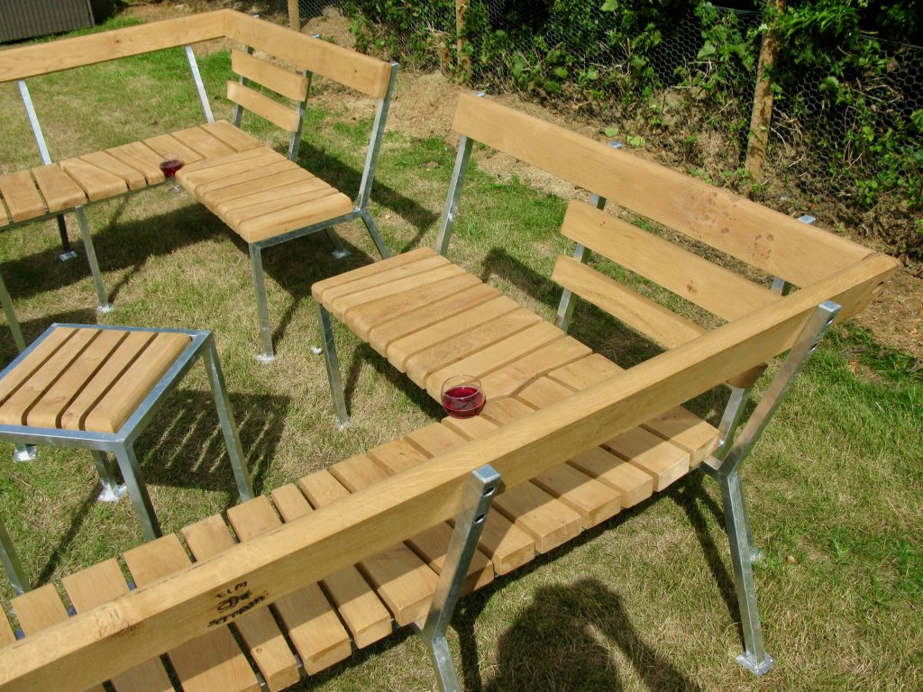bench oak galvanised steel