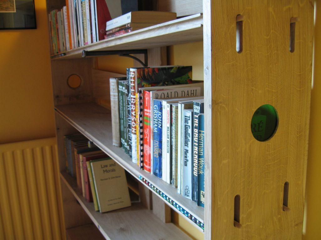 oak see-saw bookcase