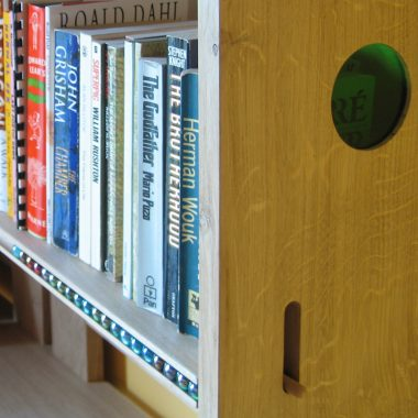 see-saw bookcase in solid, local, sustainable english oak