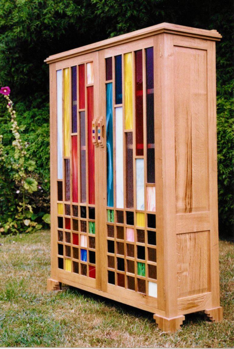 oak cupboard rainbow glazed