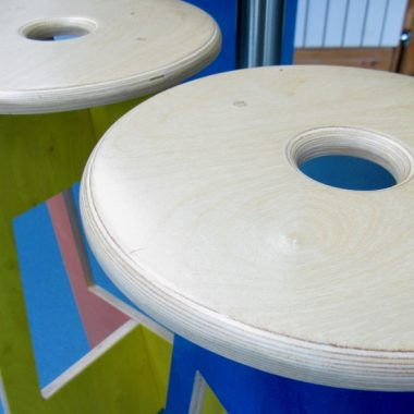 tripod stools in stained birch ply